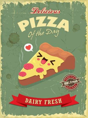 Vintage food poster design with vector pizza character.