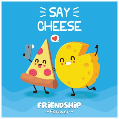 Vintage food poster design with vector pizza & cheese character.