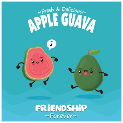 Vintage fruit & food poster design with apple guava character.