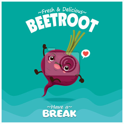 Vintage fruit & food poster design with beetroot character.