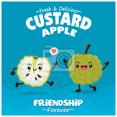 Vintage fruit & food poster design with custard apple character.