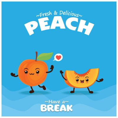 Vintage fruit & food poster design with peach character.