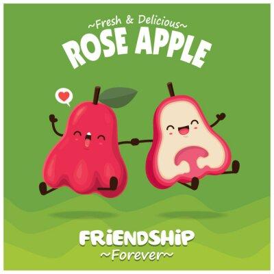 Vintage fruit & food poster design with rose apple character.