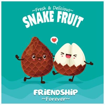 Vintage fruit & food poster design with snake fruit character.