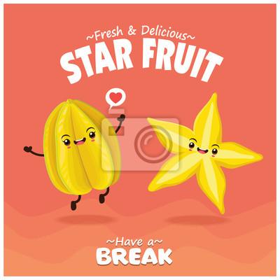Vintage fruit & food poster design with star fruit character.