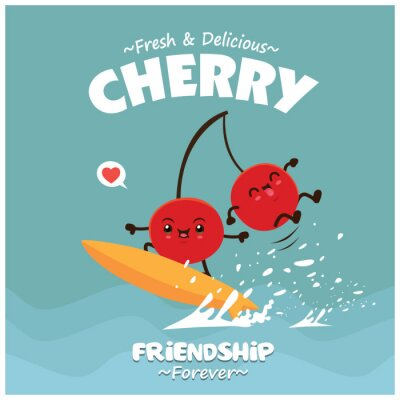 Vintage fruit poster design with vector cherry character.