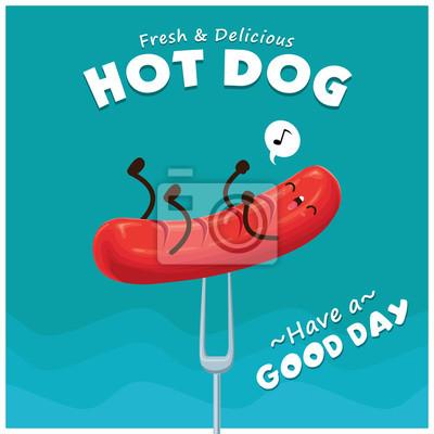 Vintage gorący pies projekt plakatu z gorącego charakteru psa.