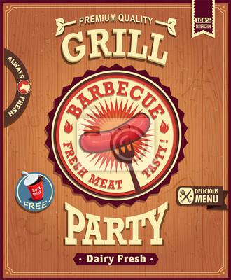 Vintage grill hot dog kiełbasa projekt plakatu