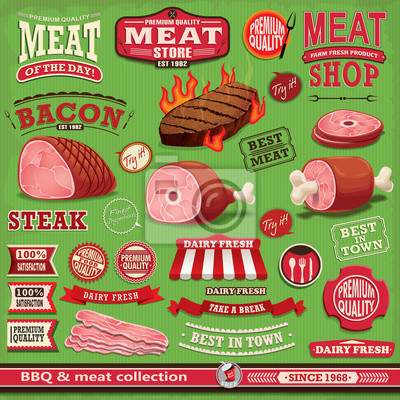 Vintage grill mięso projekt plakatu elementem