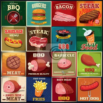 Vintage grill mięso projekt plakatu zestaw
