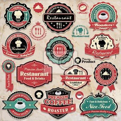 Vintage grunge i retro kawa restauracja ikony etykiety
