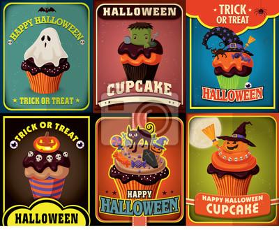 Plakat Vintage Halloween ciastko scenografia