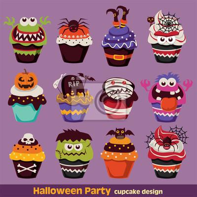Vintage Halloween Cupcake plakat scenografia