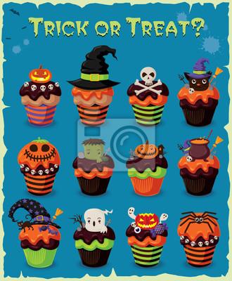 Vintage Halloween cupcake poster design set