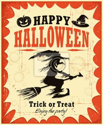 Vintage Halloween czarownica plakat projekt