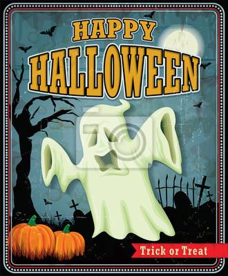 Vintage Halloween ghost projekt plakatu