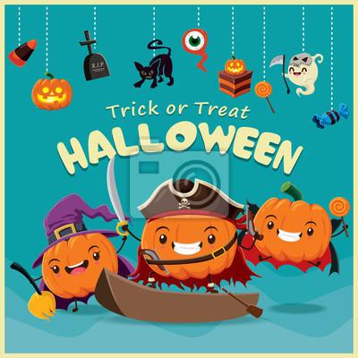 Vintage Halloween plakat designerskim z dyni, czarownica, gałki ocznej, ciastko, wampir, charakter reaper.