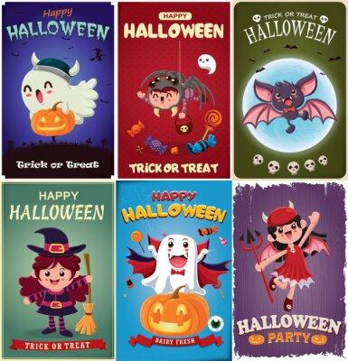 Vintage Halloween plakat projekt z wampirem wektor, czarownica, nietoperz, duch, demon, Jack O Lantern, pająk, postać potwora.