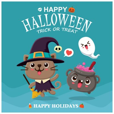 Vintage Halloween plakat projekt z wektor czarownica kot i potion charakter pot.