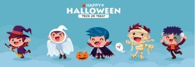Vintage Halloween plakat projekt z wektor wiedźma, demon, duch, wampir, czarownica, mumia, postać potwora.
