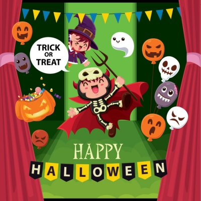 Vintage Halloween plakat projekt z wektor wiedźma, demon, zombie, duch, Jack O Lantern, zombie, balon, postać potwora.