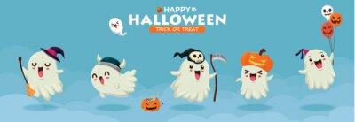 Vintage Halloween plakat projekt z wektor wiedźma, duch, demon, Jack O Lantern, żniwiarka, postać potwora.