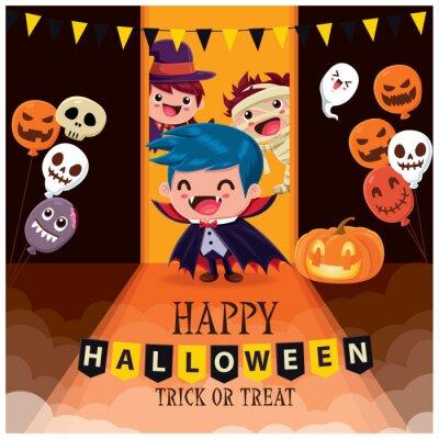 Vintage Halloween plakat projekt z wektor wiedźma, duch, mumia, demon, Jack O Lantern, postać potwora.