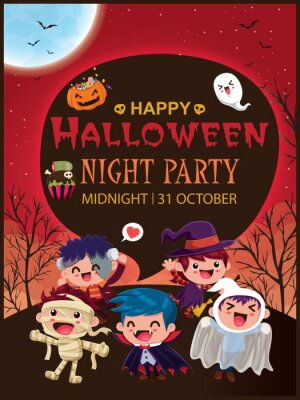 Vintage Halloween plakat projekt z wektor wiedźma, duch, mumia, zombie, demon, Jack O Lantern, postać potwora.