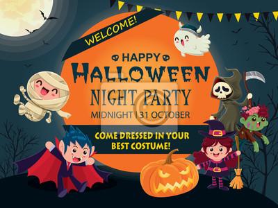 Vintage Halloween plakat projekt z wektor wiedźma, duch, mumia, zombie, demon, Jack O Lantern, żniwiarz, postać potwora.