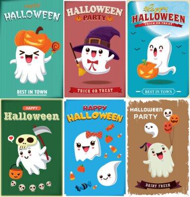 Vintage Halloween plakat projekt z wektor wiedźma, nietoperz, duch, demon, Jack O Lantern, żniwiarka, postać potwora.