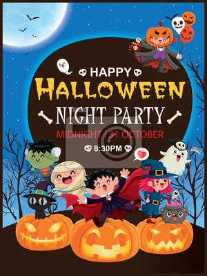 Vintage Halloween plakat projekt z wektor wiedźma, wampir, mumia, zombie, żniwiarka, Jack O Lantern, postać dyni.