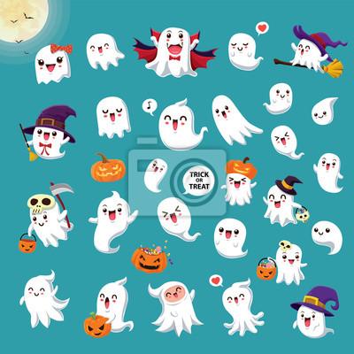 Vintage Halloween plakat projekt z wektor wiedźma, żniwiarka, wampir, Jack O Lantern, postać ducha.