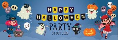 Vintage Halloween plakat projekt z wektor wiedźma, zombie, nietoperz, duch, demon, Jack O Lantern, żniwiarka, kot, postać potwora.