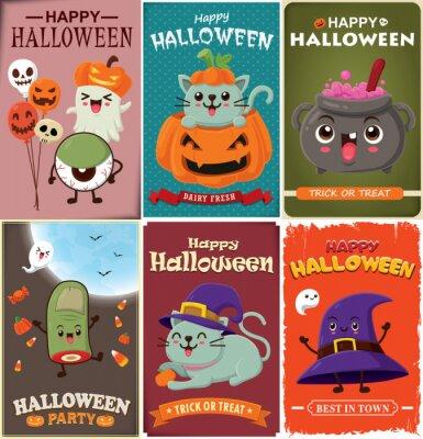 Vintage Halloween plakat projekt z wektor wiedźma, zombie, nietoperz, duch, kot, demon, gałka oczna, Jack O Lantern, potion potion charakter.
