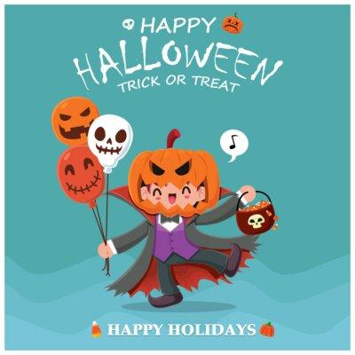 Vintage Halloween plakat projekt z wektorowym charakterem demona.