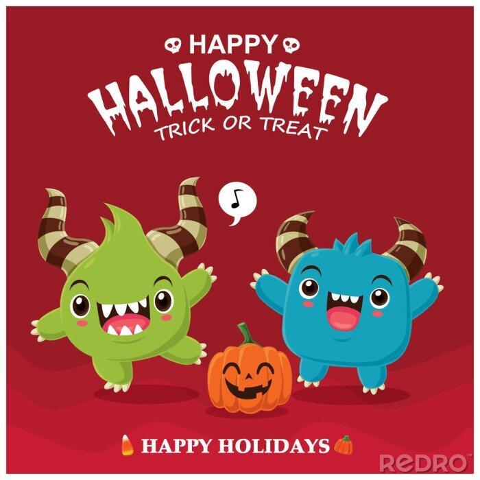 Plakat Vintage Halloween plakat projekt z wektorowym charakterem demona.