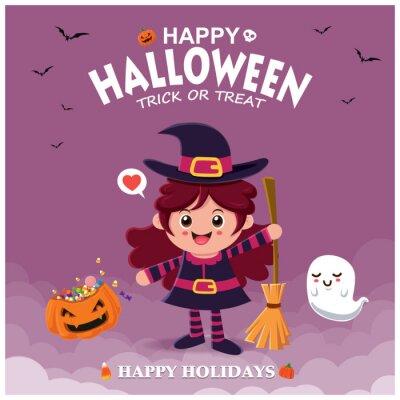 Vintage Halloween plakat projekt z wiedźmą i duchem postaci wektorowej.