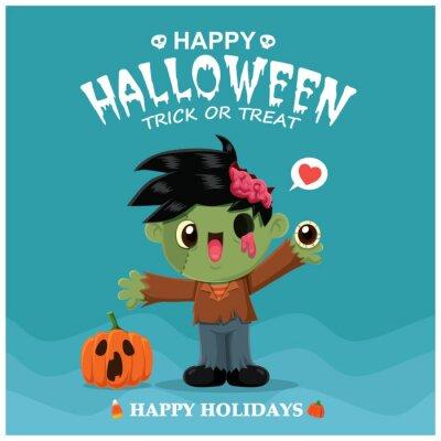 Vintage Halloween plakat projekt z zombie wektor znaków.