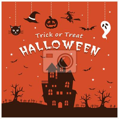 Vintage Halloween plakat projektowania ustaw z wampira, duch, czarownica, ciastko, zombie, pirat, mumia, postać sowy.