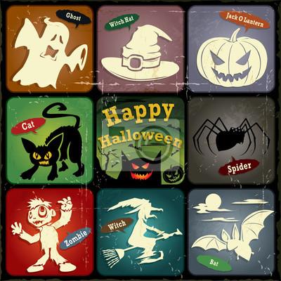 Vintage Halloween plakat, scenografia wytwórnia