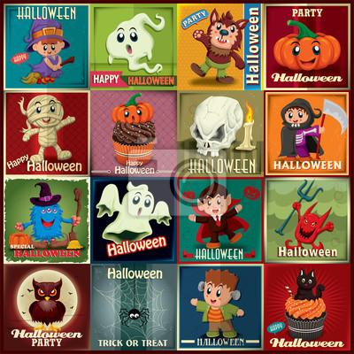 Vintage Halloween plakatu zestaw z dzieci w kostium