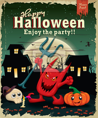 Vintage Halloween poster design with demon