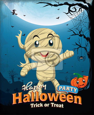 Vintage Halloween poster design with kid in mummy costume