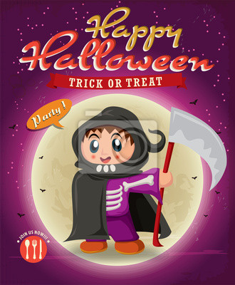 Vintage Halloween poster design with kid in reaper costume