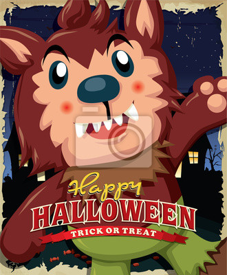 Vintage Halloween poster design with kid in wolfman costume