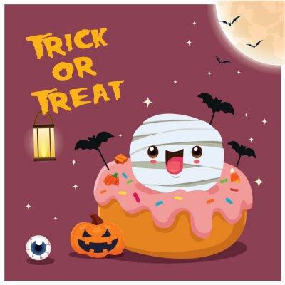 Vintage Halloween poster design with vector bat, pumpkin, mummy, cupcake character.
