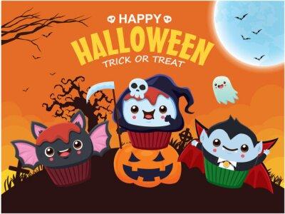Vintage Halloween poster design with vector bat, reaper, vampire, ghost character.