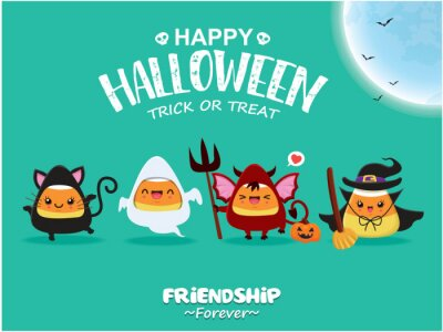 Vintage Halloween poster design with vector cat, ghost, demon, witch character.