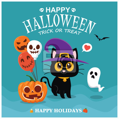 Vintage Halloween poster design with vector cat, ghost, pumpkin character.