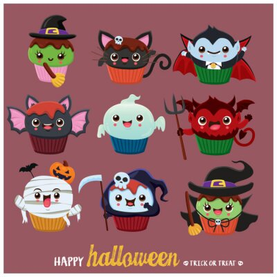 Vintage Halloween poster design with vector cat, ghost, witch, demon, witch, reaper, vampire, mummy character.